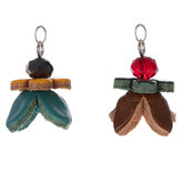 Turquoise & Brown Flower Leather & Bead Pendants
