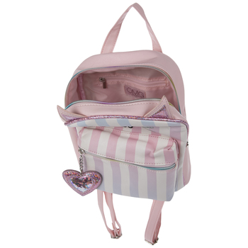 Pink & Blue Striped Kitty Backpack