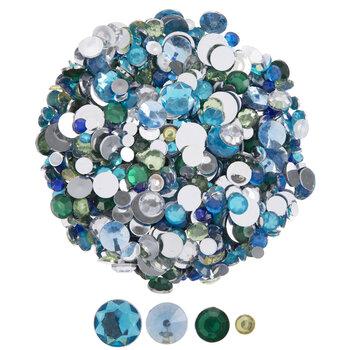 Blue & Green Round Rhinestones