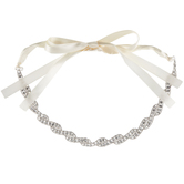 Ivory Ribbon With Swirling Rhinestones Accessory