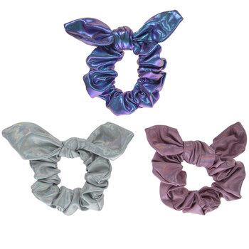 Metallic Pink, Silver & Purple Bow Scrunchies