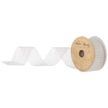 "White Rectangle & Round Plastic Pearl Ribbon - 2"""