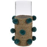 Teal & Beige Woven Pom Pom Glass Vase
