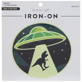 UFO & T-Rex Glow-In-The-Dark Iron-On Applique