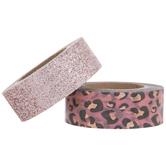 Pink Glitter & Leopard Print Washi Tape