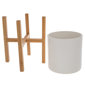 Matte White Planter With Wood Stand