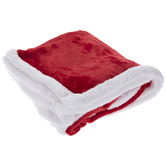 Red With White Sherpa Edge Throw Blanket
