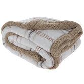 White & Brown Plaid Sherpa Throw Blanket