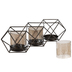 Geometric Metal Candle Holders With Hurricane Glasses