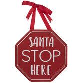 Santa Stop Here Wood Wreath Embellishment