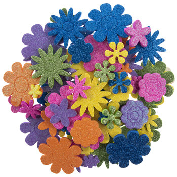 Glitter Flower Foam Stickers