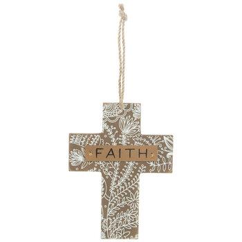 Faith Floral Wood Wall Cross
