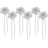 White Iridescent Glitter Rose Hair Pins