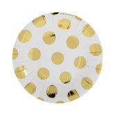 White & Gold Foil Polka Dot Paper Plates