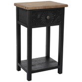 Black Floral Medallion Wood Side Table