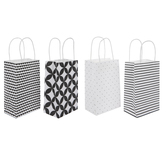 Black & White Floral & Striped Craft Gift Bags