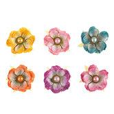 Bright Ameruse Glitter & Pearl Flower Embellishments