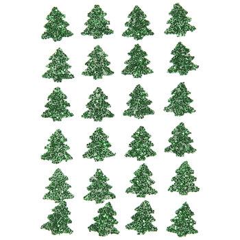 Green Glitter Tree Stickers