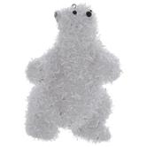 Silver & White Tinsel Polar Bear Ornament