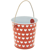 Red & White Hearts Metal Bucket