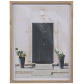 Black Door & Potted Cactus Wood Wall Decor