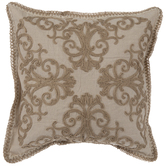 Tan Embroidered Pillow Cover