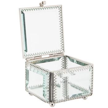 Square Mirrored Glass Jewelry Box