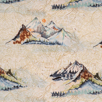 Mountain Map Duck Cloth Fabric