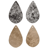 Black & Champagne Crackle Teardrop Leather Earring Blanks