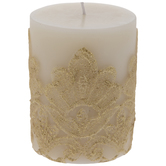 Gold Lace Pillar Candle