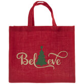 Believe Tree Jute Tote Bag