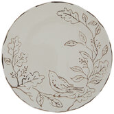 White Embossed Bird On Branches Plate