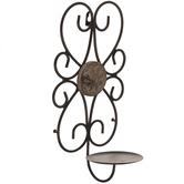 Rustic Floral Medallion Metal Wall Sconce