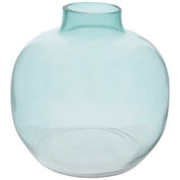 Blue Green Round Glass Vase