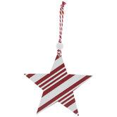 White Glitter & Red Striped Star Ornament