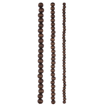 Oval Wood Bead Strands