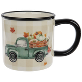 Truck With Pumpkins Buffalo Check Mug