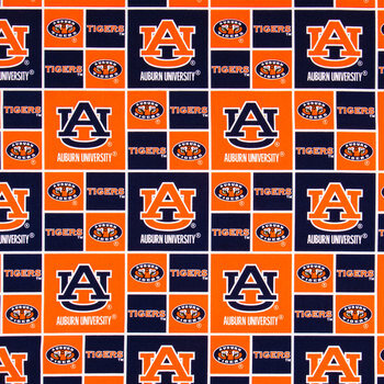 Auburn Block Collegiate Cotton Fabric