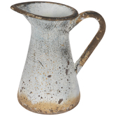 Rustic Blue Metal Pitcher Vase