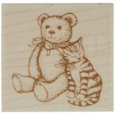 Teddy Bear & Kitten Rubber Stamp