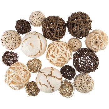 Ivory & Brown Natural Decorative Spheres
