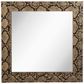 Gold Snake Print Wood Wall Mirror