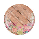 Wood Plank & Floral Paper Plates