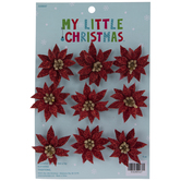 Mini Glitter Poinsettia Ornaments