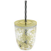 Gold Glitter Tumbler With Lid & Straw