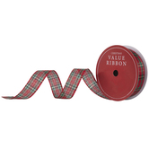 Red, Green & Gold Plaid Wired Edge Ribbon - 1 1/2""