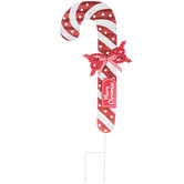 Merry Christmas Candy Cane Metal Garden Stake