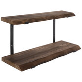 Rustic Two-Tiered Wood Wall Shelf