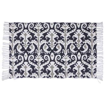 Navy, White & Gray Ikat Chindi Rug