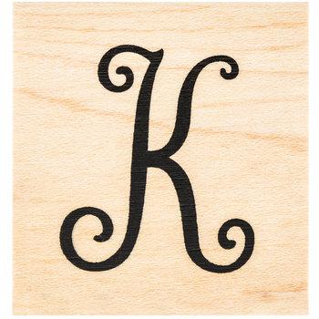 Script Letter Rubber Stamp - K